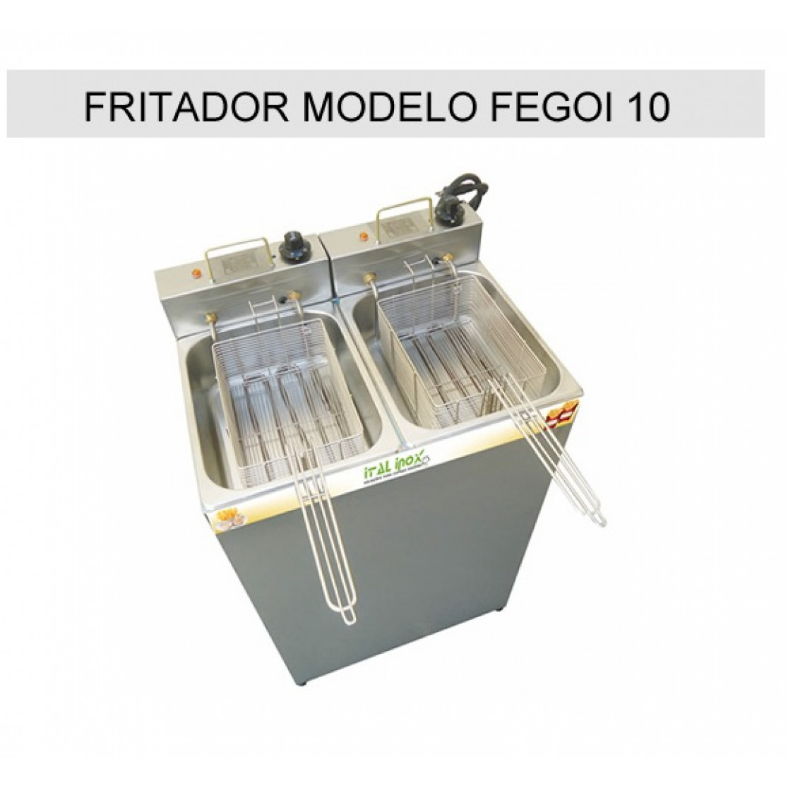 Fritadeira Elétrica Industrial Com 2 Cubas 10 Litros FEGOI 10