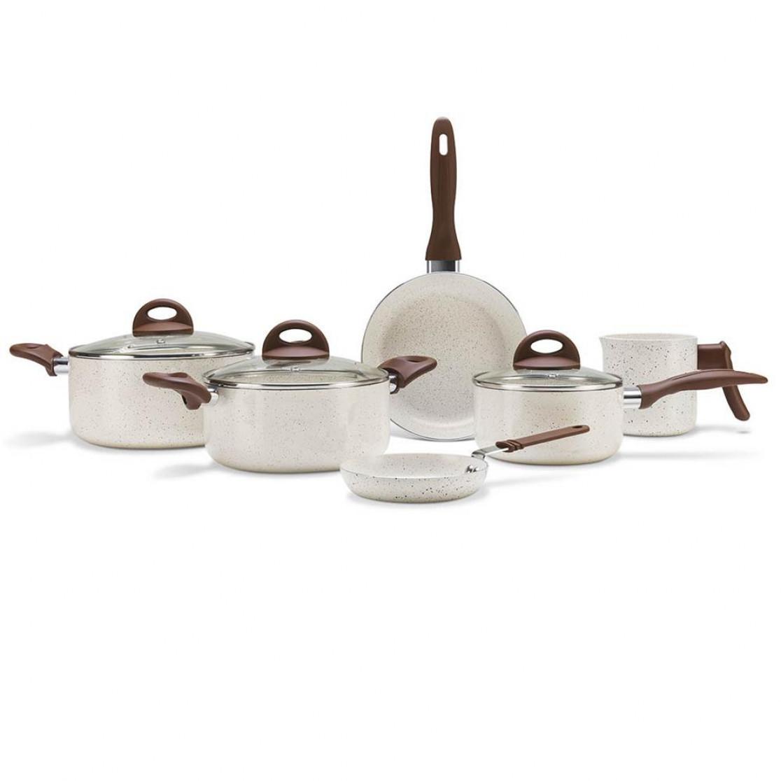 Jogo de Panelas 6 Peças Ceramica Ceramic Life Vanilla Brinox